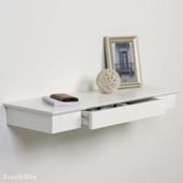 Boekenplank Met Lade.Zwevende Wandplank Met Lade Wit Duraline Biedenwin Nl