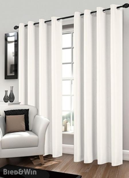2x Kant en klare polyester gordijnen met ring L140 H 260 cm, wit ...