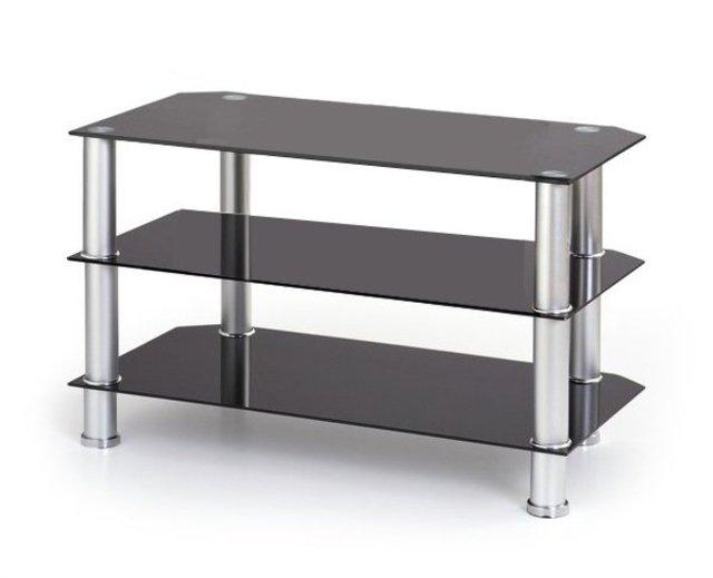 Glazen tv meubel met rvs staanders zwart en chrome biedenwin.nl
