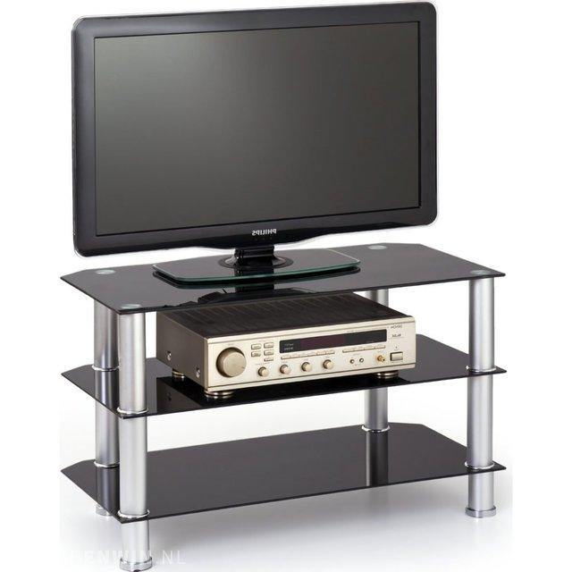 Glaze Tv Meubel.Glazen Tv Meubel Met Rvs Staanders Zwart En Chrome